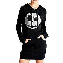 Xero Women The Nightmare Before Christmas Dark Love Sweatshirt Dress Pockets Pullover Kangaroo Hoodie Black