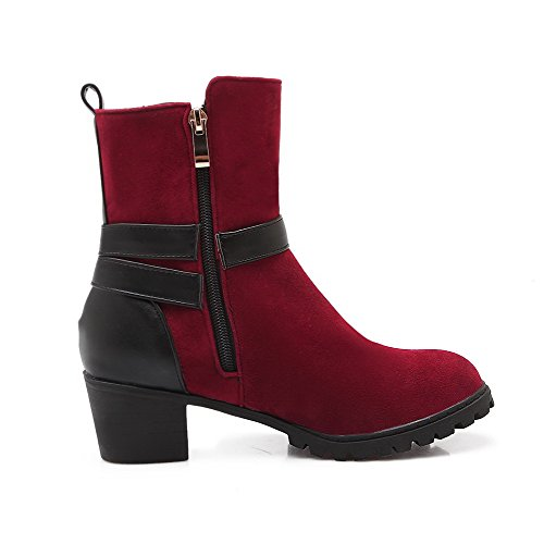 AllhqFashion Womens Soft Material Round Closed Toe Assorted Color Low-top Kitten-Heels Boots Red sK8Sm06
