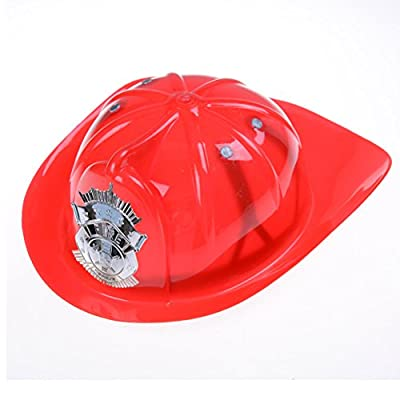 Fireman Hat Kid's Fireman Helmet Hard Plastic Chief Hat Firefighter Costume for Kids Roleplay Red: Clothing
