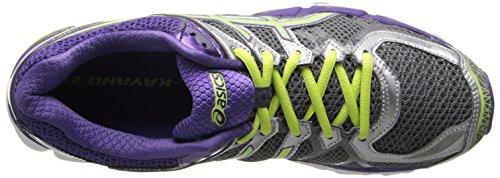 Asics Women's GT-2000 4 Running Shoe, Silver, 6 B US Charcoal/Sharp Green/Purple