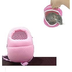 Stock Show Small Animal Carrier Bag Pet Outgoing Bag with Shoulder Strap Portable Travel Handbag Backpack for Hedgehog Hamster Mouse Rat Sugar Glider Squirrel Chinchilla Rabbit, Pink