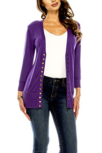 Women's V Neck Cardigan Snap Button 3/4 Sleeve Sweater with Ribbed Detail Collection Plus Size [S-3X] Purple 1X Large Plus