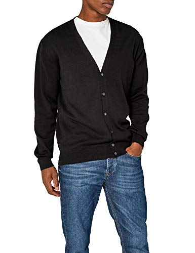 Henbury Mens V Neck Button Fine Knit Cardigan (M) (Black)