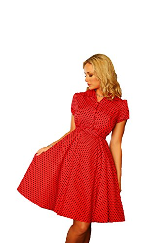 Charm Your Prince Womens Red and Black Swing Pinup Polka Dot 1950's Lucy Dress S