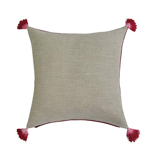REVERSIBLE Square Pillow Cover - TAN & DEEP RED ()