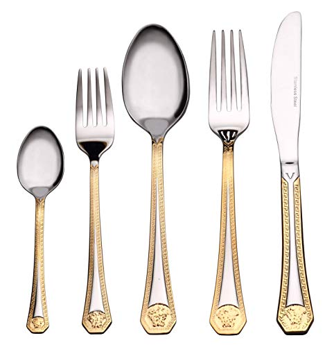 Venezia Collection 'Greek Medusa' 40-Pcs. Fine Flatware Set, Silverware Cutlery Dining Service for 8, Premium 18/10 Surgical Stainless Steel, 24K Gold-Plated Trim ()