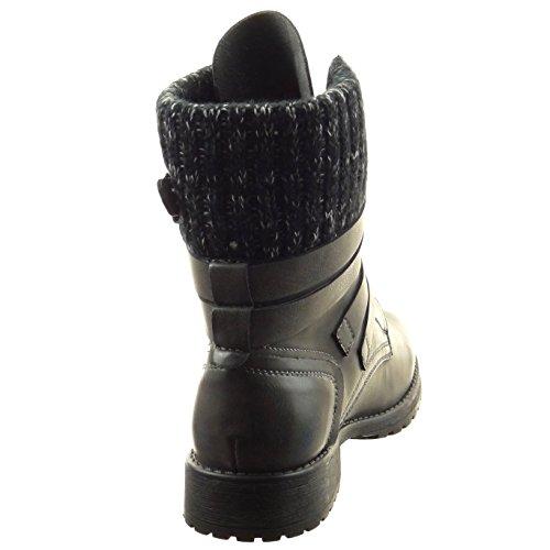 Botines Zapatillas ancho correa medio Tacón 3 botas Talón Sopily multi mujer Gris de A muslo CM militares Moda 0dwPtx