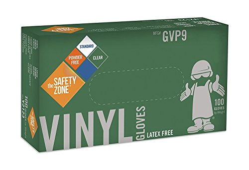Disposable Vinyl Gloves - Powder Free, Clear, Latex Free and Allergy Free, Plastic, Work, Food Service, Cleaning, Wholesale Cheap, Size Large (Case of 1000) (5X Case of 1000) by The Safety Zone