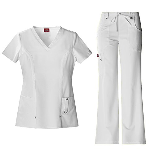 Dickies Xtreme Stretch Women's V-Neck Scrub Top 82851 & The Extreme Stretch Drawstring Scrub Pants 82011 Medical Scrub Set (White - Medium/Small Tall) ()