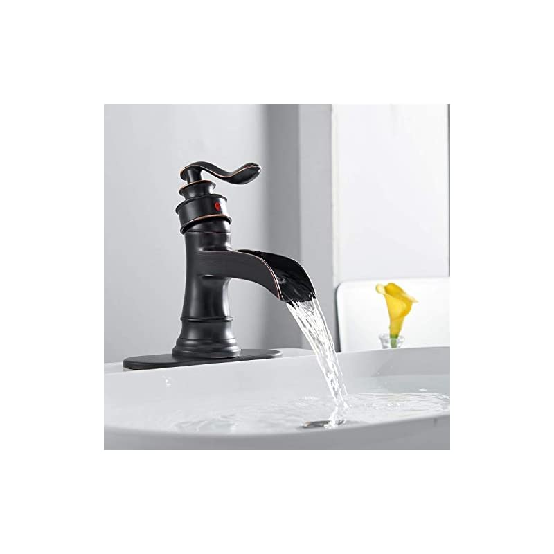 Waterfall Bathroom Faucet Oil Rubbed Bronze Sink with Pop Up Drain Stopper Faucets Single Hole Rustic Vanity Farmhouse…