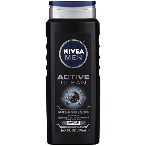 NIVEA Men DEEP Active Clean Body Wash - 8-hour Fresh Scent with Natural Charcoal - 16.9 fl. oz. Bottle (Pack of 3) (Face Wash Men Active)