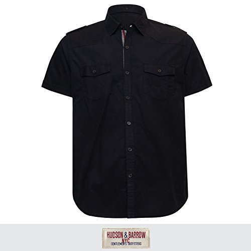 Hudson & Barrow Men's Spread Collar Short Sleeve 2 Pocket Button Down Shirt Black Large 2 Pocket Button