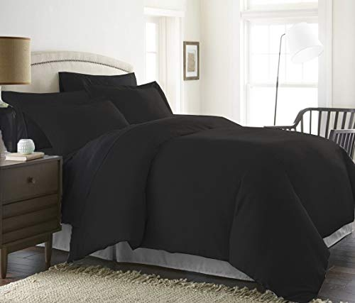 Bed Alter 1000 Thread Count Duvet Cover with Zipper & Corner Ties 100% Egyptian Cotton Luxurious & Hypoallergenic (Queen/Full, Black)