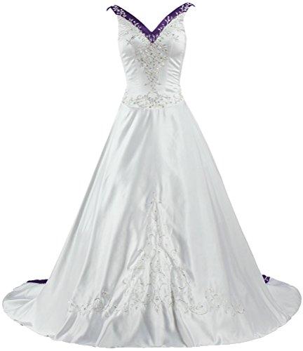 Robe De Mariée En Satin Col V De Fourmis Femmes Broderie Robe De Mariée Raisin Blanc