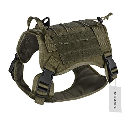 Dog Camouflage Vest - Motusamare Service Dog Vest Training Hunting Molle Nylon Water-Resistant Military Patrol Adjustable Comfortable K9 Tactical Dog Harness with Handle (Camouflage) (M, Ranger Green)