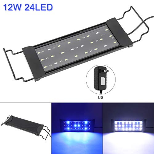 SecurityIng 12W 24 LED Aquarium Light, Fish Tank Light with Extendable Brackets, 2 Lighting Modes Water Fishbowl Lights…