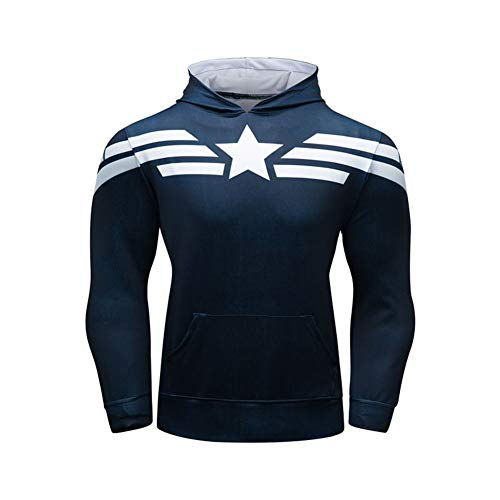 Dri-fit Pull Over Hoodie Long Sleeve Captain America Casual Hooded T-Shirt M ()