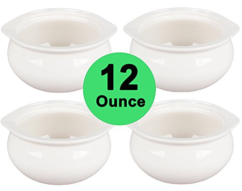 French Dinnerware Soup Bowl (Real 12 Ounce - White Porcelain Onion Soup Crock Bowls Set of 4)