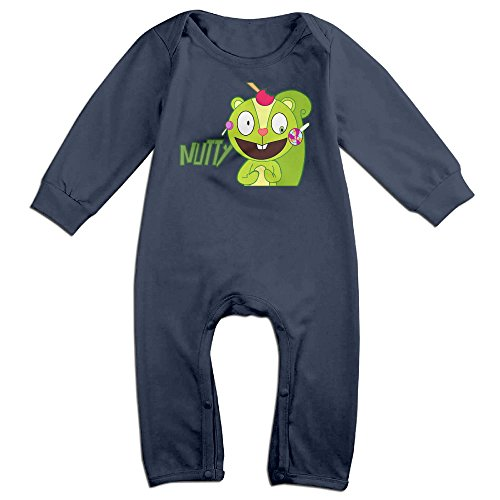 KIDDOS Baby Infant Romper Happy Tree Friends Nutty Long Sleeve Jumpsuit Costume,Navy 12 Months