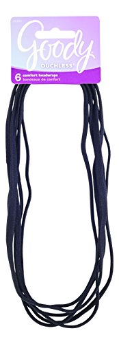 Goody Women's Ouchless Thin Hair Flat Narrow Headwrap, Black, 6 - Headband Black