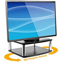 Mount-It! Turntable Stand for TV / Monitor, 2 Tier Rotating DVD Platform Swivel Base 32, 37, 40, and 42 TVs, Black