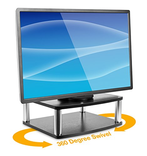 Mount-It! Turntable Stand for TV/Monitor, 2 Tier Rotating DVD Platform Swivel Base 32, 37, 40, and 42