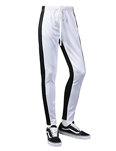 - URBANCREWS Mens Hipster Hip Hop Double Stripe Skinny Track Pants WHITEBLACK, M