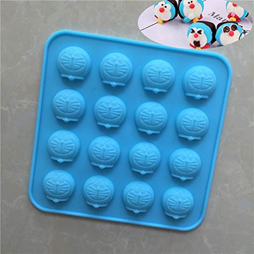 1 piece 16 Cav Cartoon Doraemon Cake Mold Silicone Mould for Soap Pudding Clay Candy Chocolate Bakeware DIY Random Color 1185