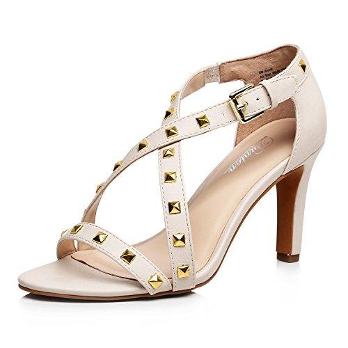 (DUNION Women's Annie Metal Rivets Decor Ankle Strap High Heel Dress Sandal Stiletto Party Prom Wedding Shoe,Beige,8 B(M) US )