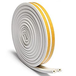 Loobani Self-adhesive EPDM Doors and Windows Draught Excluder Foam Seal Strip Soundproofing Collision Avoidance Rubber Weatherstrip (D type 5m, White)