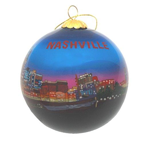 - Nashville Night Skyline Glass Ornament