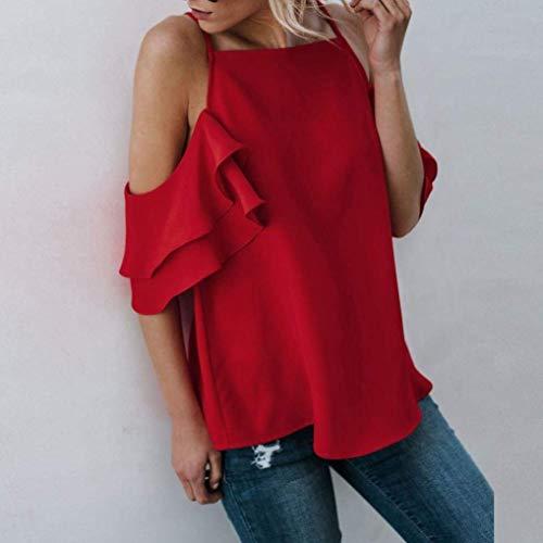 Mode Rouge De Uni Haute Tshirts Qualit Volants Assez Et Casual Manches Tops Nues Sling Manche Tee lgant Haut Dos Chic paules Courtes Femme Nu Shirt Sw0R41zq