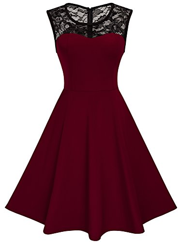 HOMEYEE Women's Vintage Chic Sleeveless Cocktail Party Dress A008 (XL, Dark Red)