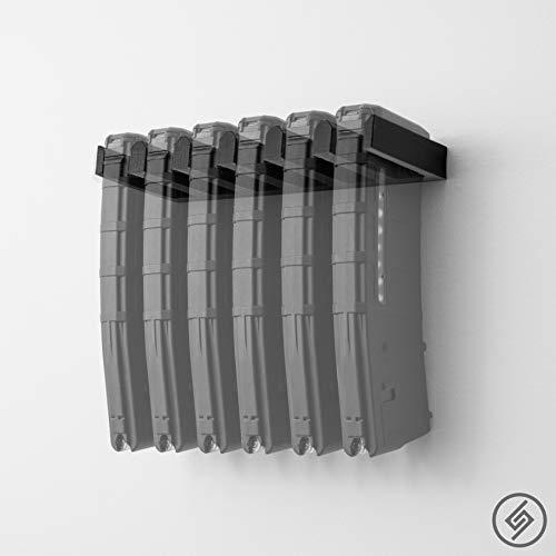 6XStandard PMAG Wall Mount | Magazine Display | Wall Storage Organization System | Unique Low Profile Design | Gun Safe Wall Garage | Gun Room Mounting Solution | Spartan Mounts