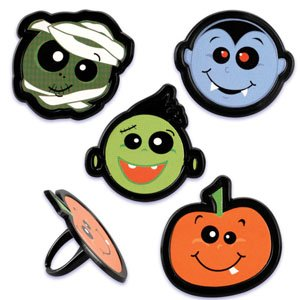 (CLEARANCE FREE STANDARD SHIPPING - 24 Rings - Halloween Pumpkin, Mummy, Dracula, Frankenstein Cupcake Toppers with a Bonus Cupcake Tips Card - We Ship Within 1 Business Day!)