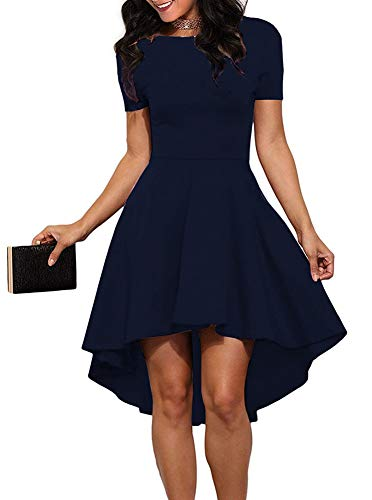 Junior Party Dress - REORIA Womens Scoop Neck Short Sleeve High Low Cocktail Party Skater Dress Royal Blue Small
