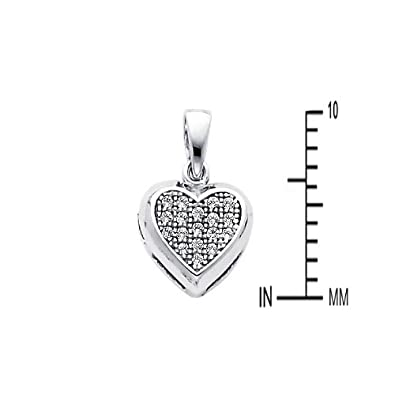 14k White Gold Cluster CZ Heart Pendant with 1.2mm Cable Chain Necklace