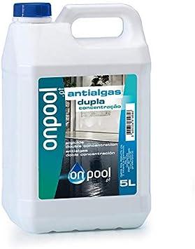 Onpool - Antialgas/Algicida líquido 5 L para Piscina o SPA - Abrillantador del Agua y no promotor de nuevos organismos