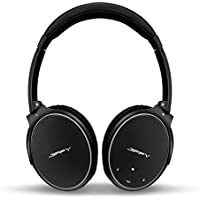 Active Noise Cancelling Wireless Bluetooth Over-ear Stereo Headphones with Mic for all 3.5mm & Bluetooth device - Black