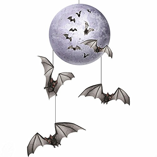 HALLOWEEN Party Decoration Prop Spooky Vampire BAT FULL MOON HANGING - Bat Hanging Vampire