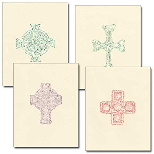 Irish Deluxe Note Card Assortment w/Envelopes 4 Different Celtic Cross Gravestone Rubbings Designs -