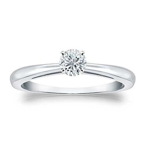 Diamond Wish 14k White Gold Round Solitaire Diamond Engagement Ring (1/4 carat TW, J-L, I2-I3) 4-Prong Set, Size 6 ()