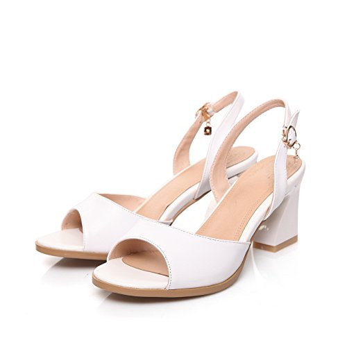 Solid Leather SDC04917 Sandals Fashion White Womens Heels Chunky AdeeSu xXFqIa
