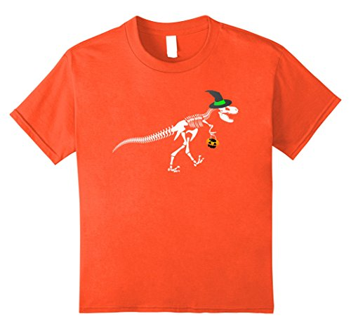 Orange Trex Costumes For Kids (Kids T-Rex Skeleton Witch Hat Halloween Costume Shirt 12 Orange)