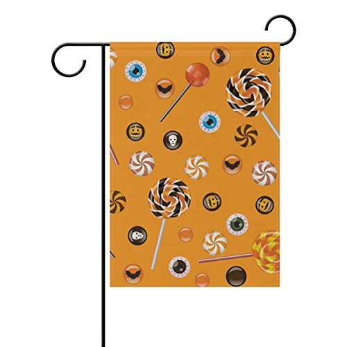 AUUOCC Halloween Lolly Seasonal Holiday Polyester Garden Yard Flag Banner 28 x 40 inches Decorative Flag for Home Indoor Outdoor Decor