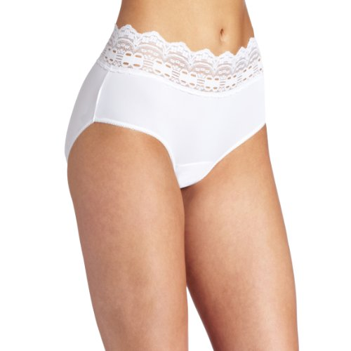 - Olga Women's Secret Hug Fashion Scoops Hipster Panty, White, 7/L