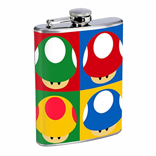 Classic Pop Art Icon's & Images S1 Flask Stainless Steel 8oz Hip Silver Whiskey Drinking Spirits - Pop Hip Art