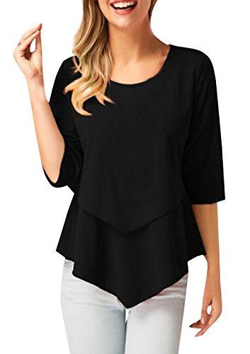 Tops Irregolare Rotondo Bluse Tumblr Sottile Mode Monika Maglietta Maniche Donne Tinta Nero Camicie 3 Unita T shirt Collo Casual 4 Rw5qI6