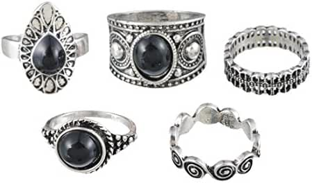 MJARTORIA Black Rhinestone Cloud Joint Knuckle Stacking Rings Set of 5