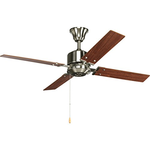 (Progress Lighting P2531-09 North Park 52-Inch Ceiling Fan, Brushed Nickel Finish with Natural Cherry/Cherry Blade Finish)
